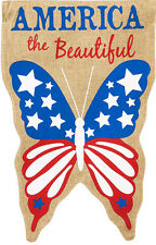 Garden Flag, Burlap, Patriotic, America the Beautiful, Butterfly, Double Sided