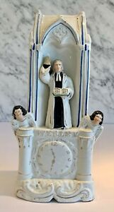 Antique Staffordshire John Wesley on Pulpit with Angels Clock Figure 19thC
