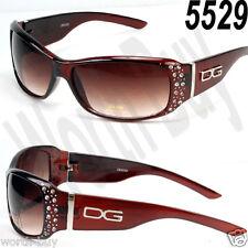 New DG Eyewear Womens Rhinestones Designer Wrap Sunglasses Shades Fashion Brown