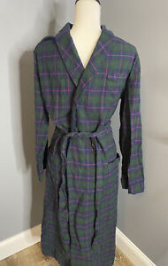 Brooks Brothers 1818 100% Cotton Navy Blue Green Plaid Flannel Robe Men's Sz S