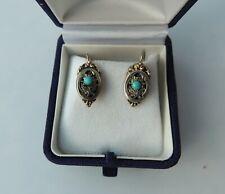 Antike Biedermeier Ohrringe aus 585er Gold mit Türkisen