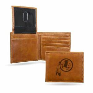 Washington Redskins Laser Engraved Brown Billfold Wallet