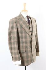 New listing Vtg 70s Kauffman'S Wool Plaid 3 Piece Suit Great Gatsby Golf Mens Size 38 Reg