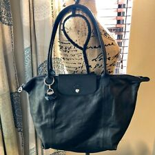 Longchamp Le Pliage Cuir Dark Brown Foldable Leather Tote with Fob Key Ring