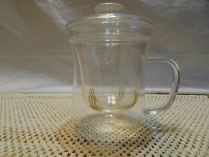 Teavana Used Verre Illumine Joli Glass Mug with Infuser 10 fl oz.