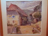 Tableau peinture vue scene animée village Haute Savoie