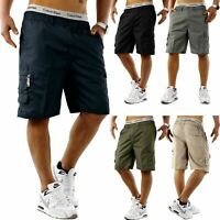 Mens Cargo Shorts Elasticated Waist Casual Cotton Combat Pants M L XL 2XL 3XL