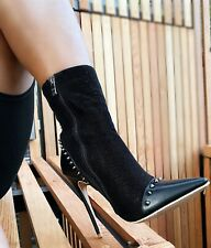 Black LADIES WOMENS Studded ANKLE LOW HEEL HIGH TOP SHOES BOOTS SIZE UK 8 EU 41