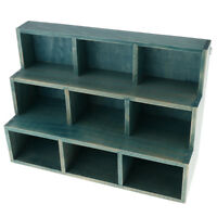 3 Layer 9 Cube Wood Storage Rack Bookcase Organizer Furnishing Articles Blue