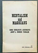 MAGIC MENTALISM & MAGICIANS Arguments about a Modern Problem Wm Edward Cox RARE