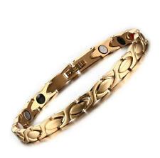 "Womens 6mm Gold Plating Stainless Steel Bracelet Health Care Magnet Bangle 8.5"""