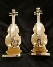 """Antique Vintage Metalic Cello/Violin- Pair of Bookends Silver Plated 10.5"""""""
