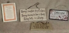 4 Wood Signs, Wall Hanging Rustic/Inspirational Signs, Home Decor, NEW!