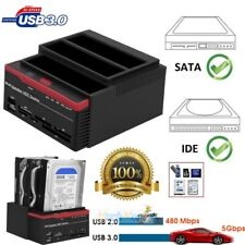 External Two SATA IDE HDD Docking Station 2.5''/3.5''Hard Drive Card Reader NEW