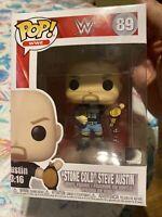 FUNKO POP! WWE  #89 STONE COLD STEVE AUSTIN 7-11 EXCLUSIVE New(damage see pics)