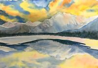 """Reflection"" Original watercolor painting 7x10 nature landscape glacier mountain"
