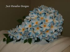 Frangipani Teardrop Blue Tipped Bridal Bouquet Silk Flower Wedding Bouquet