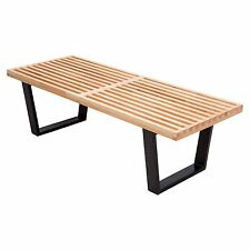 LeisureMod George Nelson Mid-Century Platform Slat Bench in Natural Wood 4 Feet