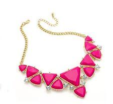 Fuchsia Pink Bead Gold Statement Necklace