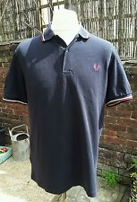 Fred Perry Navy Blue Cotton Pique Polo Shirt - Large