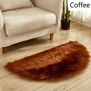 Half Round Fluffy Carpet Artificial Wool Warm Blanket Mat Shaggy Rugs Soft Decor