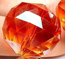 20mm Faceted Orange Crystal Quartz Round Loose Beads 6pcs
