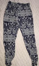 Stoosh Womans Bohemian Style Casual Pants Blue White Paisley Print Size Small