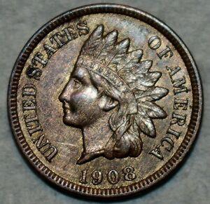 Uncirculated 1908-S Indian Head Cent, Sharp, wood-grain toned specimen