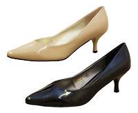 Ladies Black Beige Patent Mid High Heel Court Stiletto Party Wedding Point Shoes