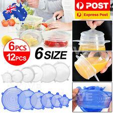 6/24PCS Stretch Reusable Silicone Food Saver Cover Seal Insta Lids Bowl Wraps