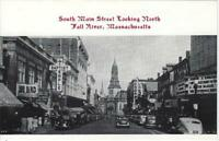 "FALL RIVER, MA  Postcard of South Main Street Looking North around 1940-50""s."
