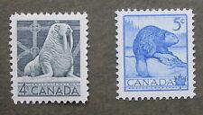 Canada stamp 1954 MNH Wildlife 4 cent #335 Walrus, 5 cent  #336 Wildlife Beaver