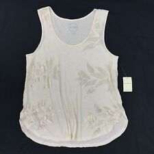 NWT Lucky Brand W383 Womens Sz L Ivory Cream Gold Floral Print Tunic Tank Top