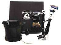 5 Pieces Shaving Set Pure Black Badger Brush & 5 Edge Blades Razor Gift Kit NEW