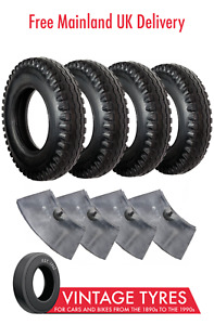 Set of 4 Avon Traction Mileage 600-16 6.00-16C Tyres & Inner Tubes - Land Rover