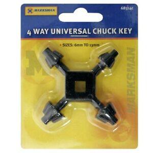 CHUCK KEY 4 WAY UNIVERSAL FITS MOST ELECTRIC DRILLS NEW