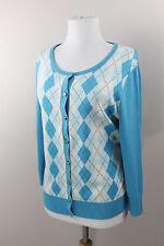 NEW Talbots Button Front Cardigan Sweater Blue Cream Argyle 3/4 Sleeve Medium 10