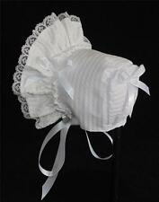 New Handmade White Puffy Searsucker Baby Bonnet
