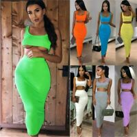 Women's Maxi Skirt Crop Top Two Piece Set Dress Ladies Bodycon Co ord Knit Suit