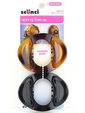 SCUNCI SPRING FREE NO METAL HAIR CLIP - TORTOISE/BLACK - 2 PCS. (38272-A)