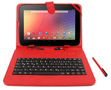 Premium German QWERTZ Keyboard Case with Stand for Google Nexus 10 in Red
