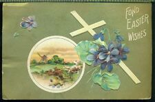 FOND EASTER WISHES Cross Violets Windmill Scene Gold Vintage 1910 Postcard