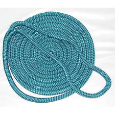 1/2 Inch x 25 Ft Teal Double Braid Nylon Mooring and Docking Line for Boats
