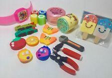 Rare Vintage 90s Girl Lot of School Eraser Sharpener Maze Watch Heart Rubber