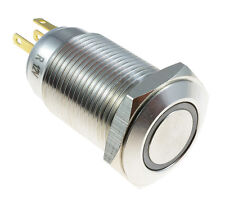 Green Angel Eye Metal LED Momentary 16mm Push Button Switch 12V SPST