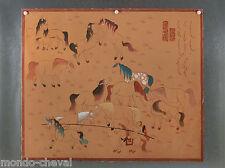 RARE ! belle peinture  traditionnelle mongole, toile et pigments signée, chevaux