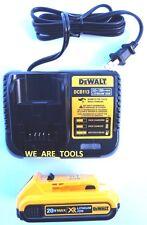 (1) New GENUINE Dewalt 20V DCB203 Battery, (1) DCB113 Charger 2.0 AH MAX 20 Volt