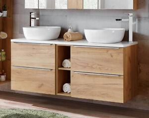 Badezimmer Waschplatz CAPRI 140cm | inkl. Keramik Aufsatzwaschbecken | goldeiche