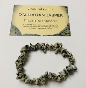 Dalmatian Jasper Gemstone Chip Bracelet with free organza bag and crystal card