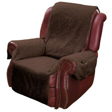 Recliner Chair Cover Protector w/ Pockets for Remotes and Cellphones - Brown